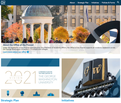 Screen shot of the website of the office of the provost